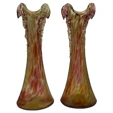 Bohemian Iridescent Oil Spot Art Nouveau Glass Vases (Pair), Teplitz Region, ca. 1900
