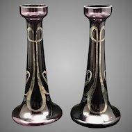 Bohemian Art Nouveau Amethyst Glass Cabinet Vases (Pair), silver deposit, ca. 1900, original labels
