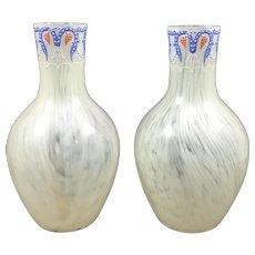 Harrach Art Nouveau Enameled Uranium Glass Vases (Pair), ca. 1890