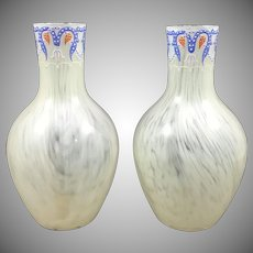 Harrach Art Nouveau Enameled Uranium Glass Vases (Pair), ca. 1890