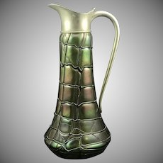 Pallme-Koenig Art Nouveau Jugendstil iridescent threaded glass large pitcher, ca. 1900
