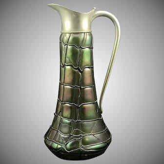 Pallme-Koenig Art Nouveau Jugendstil iridescent threaded glass large pitcher, ca. 1900