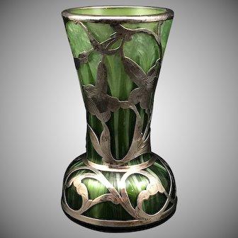Loetz Titania maigrün mit blattgrün Genre 5032, Silver Overlay, PN II-6113, ca. 1908