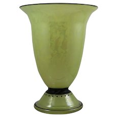 Jean Beck iridescent enameled art glass vase, ca. 1915