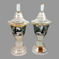 Pair Enameled Art Glass Covered Drinking Cups, Kamenicky Senov School, ca. 1920, Original Pauly & C. Paper Label