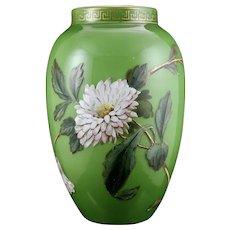 Bohemian Art Nouveau Enameled Glass Vase, ca. 1890