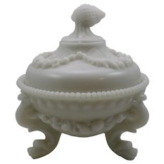 Portieux-Vallerysthal French Milk Glass Covered Candy Dish, ca. 1907
