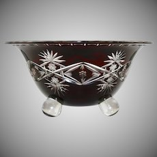 Large Loetz Cut-to-clear Glass Bowl with Ball Feet, ca. 1920