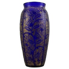 Acid etched vase, Johann Oertel & Co., Glass Refinery Haida, ca. 1920-1925