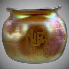 "Fostoria Specialty Glass Company ""Iris"" Vase, Engraved ""NELA 1901-1911"""