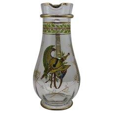 Large Bohemian Enameled Art Glass Pitcher, ca. 1900