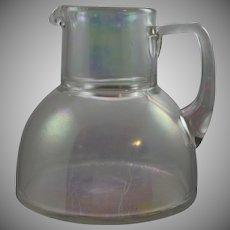 """Bohemian Art Nouveau Glass Ewer, Light Iridescent """"Hell Iris"""", ca. 1900"""