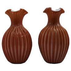 Pair of Bohemian Art Glass Vases, ca. 1890