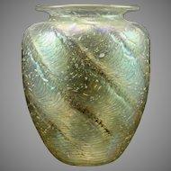 """Tom Philabaum """"Reptilian"""" Studio Glass Vase, ca. 1990s"""