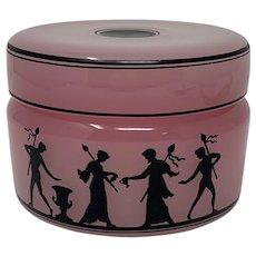 Pink Opaline Enameled Art Glass Dresser Jar, Haida, Bohemia, ca. 1920