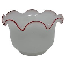 Early Harrach Alabaster Glass Vase with contrasting red rim, ca. 1869