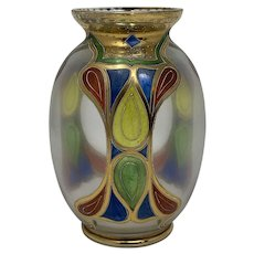 Bohemian Art Glass Polychrome Enameled Vase, ca. 1900