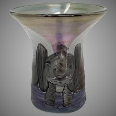 "Erwin Eisch ""Poetry in Glass"" Line Winged Elephant cup, ca. 1989"