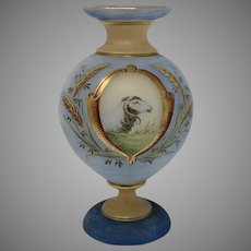 Victorian Era Bohemian Painted Glass Vase, ca. 1880