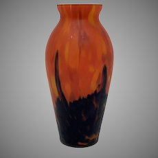 Ruckl Bohemian Art Deco Satin Glass Vase, ca. 1925