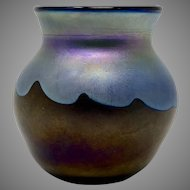 Charles Lotton Miniature Iridescent Art Glass Vase, signed & dated 1974