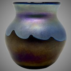 Charles Lotton Miniature Iridescent Art Glass Vase, signed & dated 1974