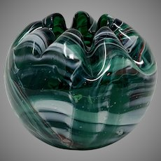 Bohemian Art Glass Rose Bowl Vase
