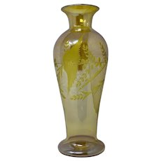 Durand Yellow Lustre Art Glass vase with Cut Decoration, PN 1707, ca. 1928
