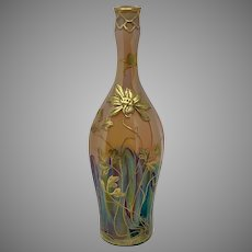 "Harrach Art Nouveau Bottle, ""Hekla"" Decor, PN 1902/1 ca. 1900"