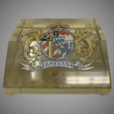 Bavarian Enameled Glass Paperweight, Kingdom of Bavaria Coat-of-Arms, ca. 1920
