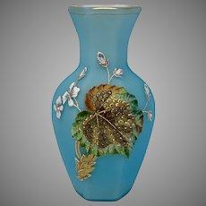 Riedel Enameled Satin Glass Vase, Marked,  ca. 1890