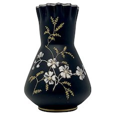 Riedel Enameled Basalt Glass Vase, Marked, ca. 1890