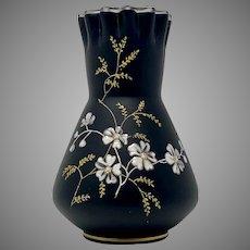 Riedel Enameled Basalt Glass Vase, Marked, ca. 1890