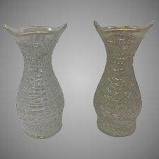 Pair of Loetz Opal Chine Art Nouveau Iridescent Glass Cabinet Vases, ca., 1900