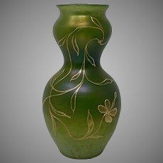 Loetz Russian Green Enameled DEK I/107 Art Nouveau Glass Vase, ca. 1900