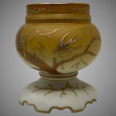 Harrach Art Nouveau Enameled Glass Lamp Base, ca. 1890s - AS IS