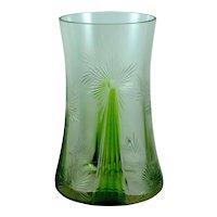 Kristallglasfabrik Wilhelm Steigerwald, Regenhütte cut glass vase, ca. 1901-1906