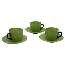Loetz Tango Glass Demitasse Cups/ Saucers, ca. 1915; MARKED