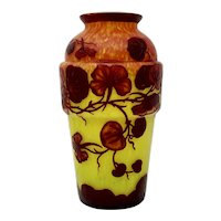 "Kralik ""D'Aurys"" Cameo Glass Vase, ca. 1920s"