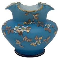 Early Loetz Capri Blue Enameled Art Nouveau Glass Vase, ca. 1890, DEK III/126