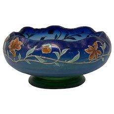 Poschinger, Buchenau, Enameled Art Nouveau Jugendstil Glass Vase/Bowl, ca. 1900