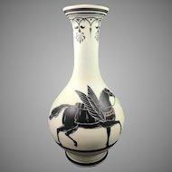 Monumental Harrach Enameled Bohemian Glass Antique Revival vase, ca. 1860