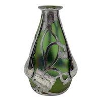 Loetz Iridescent Art Nouveau Glass Vase with Silver Overlay, ca. 1904