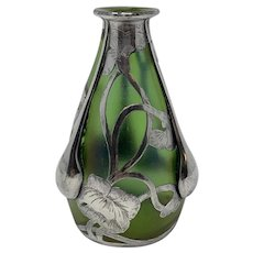 Loetz Iridescent Art Nouveau Glass Vase with Silver Overlay, ca. 1904