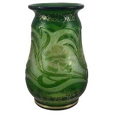 Harrach Art Nouveau Cameo/Acid Cut Back vase, ca. 1900