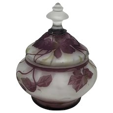 Rare Signed Kralik Art Nouveau Jugendstil Cameo Glass covered jar