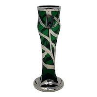 Harrach Art Nouveau Glass Vase - Sterling Silver overlay - ca 1900