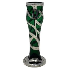 Harrach Art Nouveau Glass Vase - Sterling Silver overlay - ca 1900