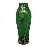 Harrach Art Nouveau Jugendstil Enameled Glass Vase, ca. 1903