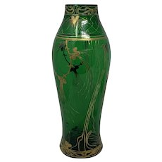 Harrach Art Nouveau Jugendstil Enameled Glass Vase, ca. 1903